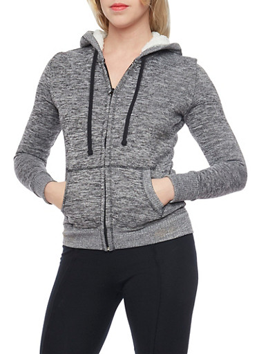 Marled Zip Up Hoodie with Sherpa Lining,BLACK,large