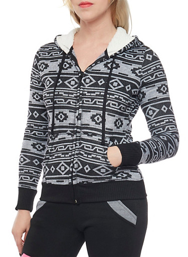 Aztec Print Hoodie with Zip Front and Sherpa Lining,BLACK,large