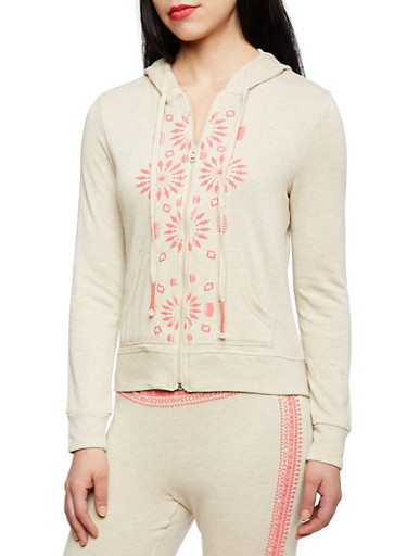 French Terry Hoodie with Textural Tribal Graphics and Embellished Drawstring,BEIGE/CORAL,large
