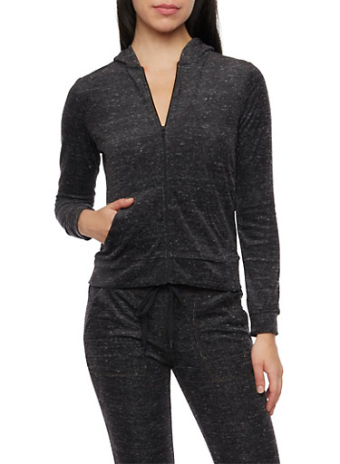 Marled Hoodie with Zip Front,BLACK,large