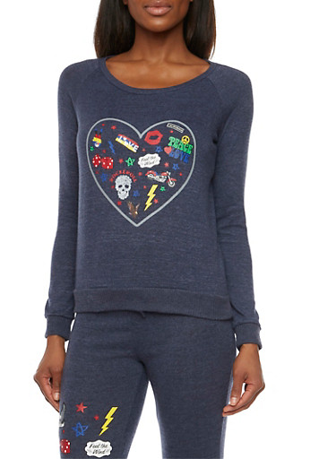 Pullover with Peace Love Rock and Roll Heart Graphic,DENIM,large