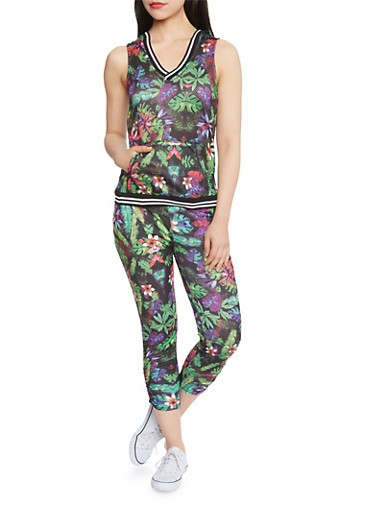 Sleeveless Mesh Hoodie with Floral Print,BLACK PRINT,large