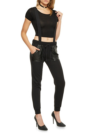 Suspender Strap Joggers with Faux Leather Pockets,BLACK,large
