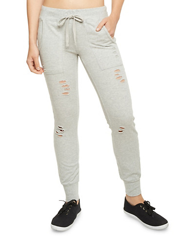 Distressed Joggers,HEATHER,large