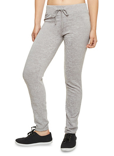 Knit Joggers with Fleece Lining,HEATHER,large