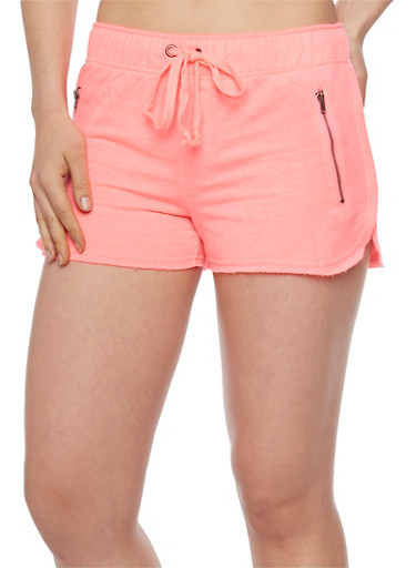 Drawstring Waist Athletic Shorts with Zip Pockets,NEON PINK,large