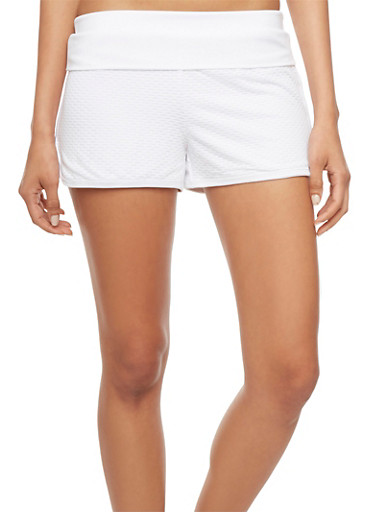 Lined Textured Mesh Running Shorts,WHITE,large