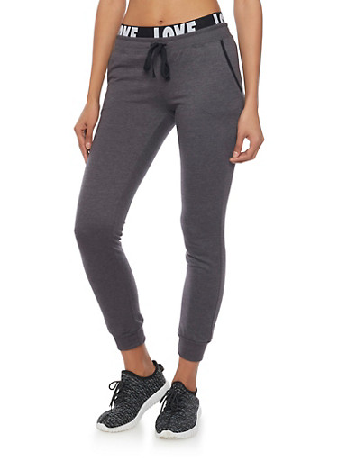 Joggers with Love Print Waistband,CHARCOAL,large