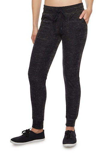Marled Joggers in Slim Fit,BLACK,large
