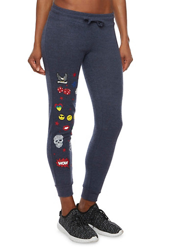 Slim Joggers with Assorted Graphics,DENIM,large