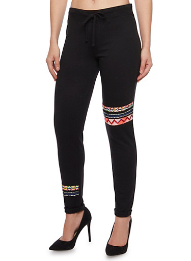 Fleece Joggers with Aztec Print Panels,BLACK,large