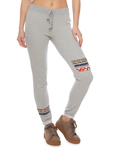 Fleece Joggers with Aztec Print Panels,HEATHER,large
