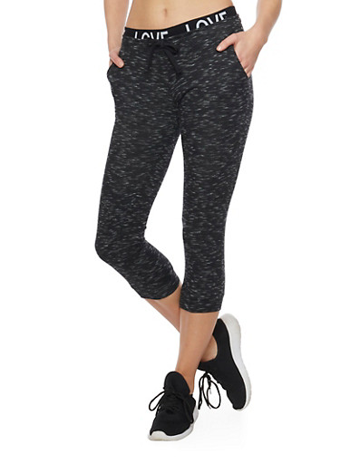 Marled Love Capri Joggers with Drawstring,BLACK,large