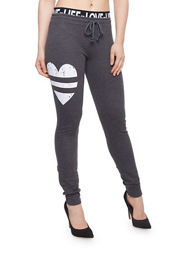 Graphic Joggers with Printed Elastic Waist,CHARCOAL,large