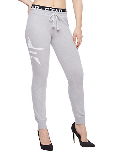 Graphic Joggers with Printed Elastic Waist,HEATHER,large