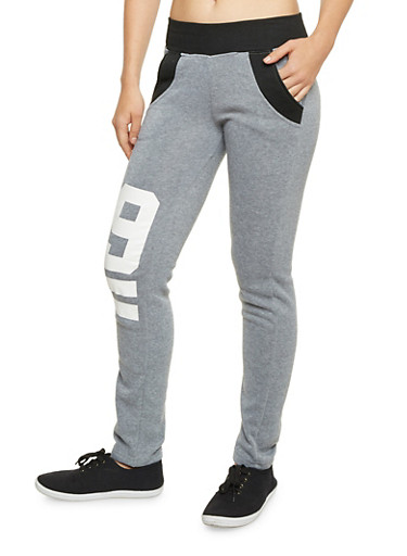 Color Block Sweatpants with 99 Graphics,BLACK,large