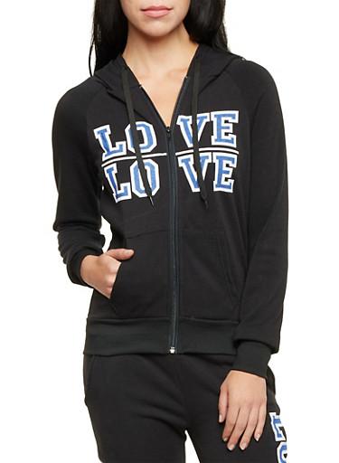 Fleece Zip Up Hoodie with Love Print,BLACK,large