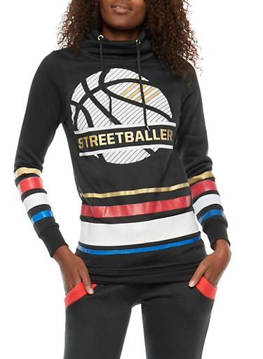 Graphic Cowl Neck Sweatshirt,BLACK,large