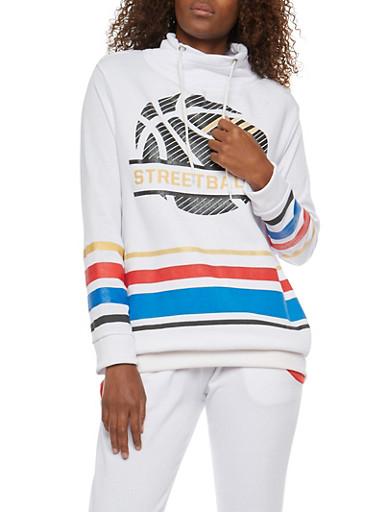 Graphic Cowl Neck Sweatshirt,WHITE,large