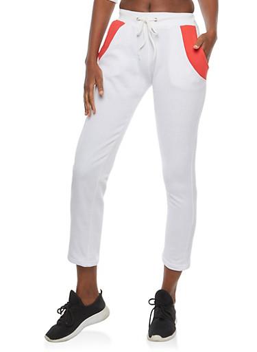 Color Block Graphic Fleece Sweatpants,WHITE,large