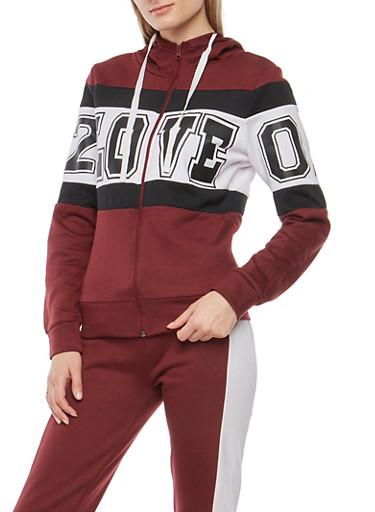 Color Block Love Graphic Zip Front Sweatshirt,BURGUNDY,large