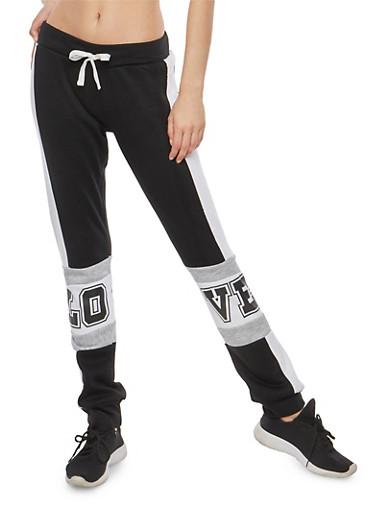 Color Block Graphic Fleece Sweatpants,BLACK,large