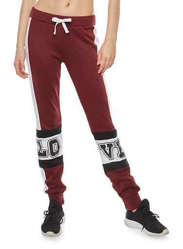 Color Block Graphic Fleece Sweatpants,BURGUNDY,large