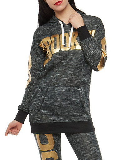 Brooklyn Foil Graphic Hooded Sweatshirt,BLACK,large