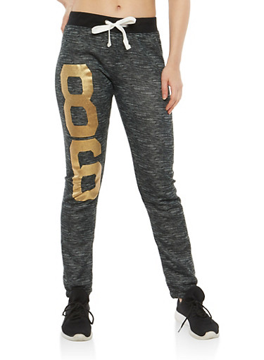 Brooklyn Foil Graphic Sweatpants,BLACK,large