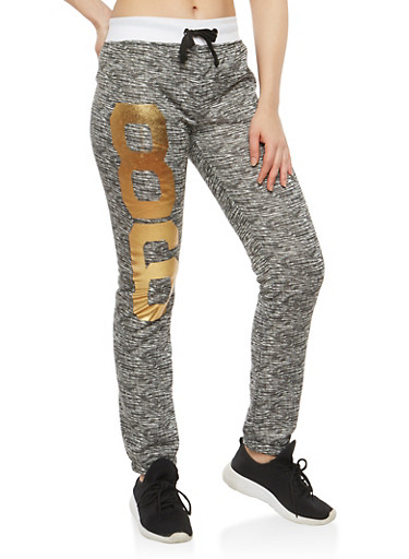 Brooklyn Foil Graphic Sweatpants,WHITE,large