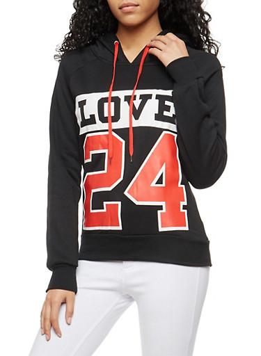 Love 24 Graphic Hooded Sweatshirt,BLACK,large