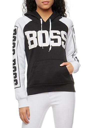 Color Block Boss Graphic Sweatshirt,BLACK,large