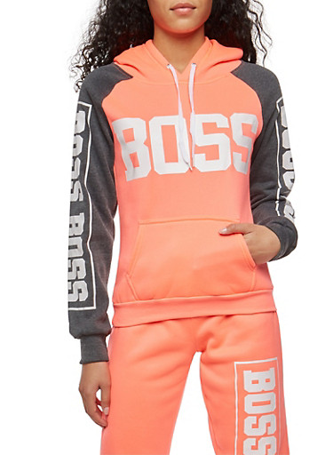 Color Block Boss Graphic Sweatshirt,CORAL,large