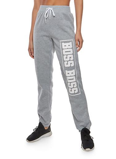 Boss Graphic Sweatpants,HEATHER,large