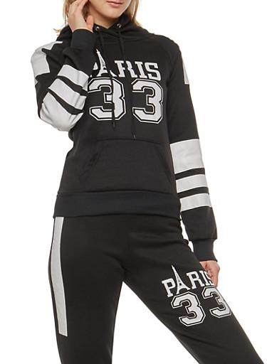 Paris Graphic Hooded Sweatshirt,BLACK,large