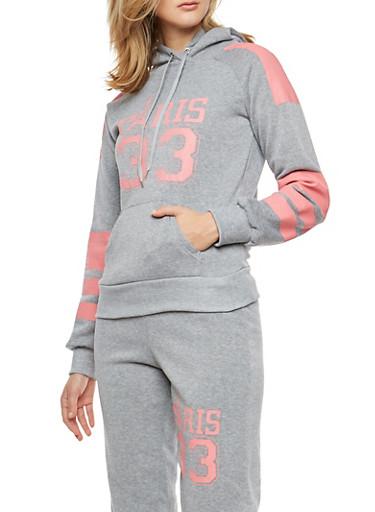 Paris Graphic Hooded Sweatshirt,HEATHER,large