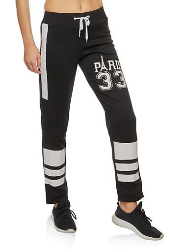 Paris Graphic Sweatpants,BLACK,large