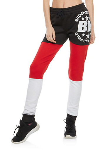 Brooklyn Graphic Color Block Sweatpants,RED,large