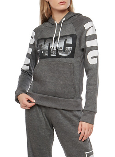NYC Graphic Hooded Sweatshirt,CHARCOAL,large