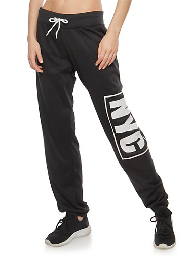 NYC Graphic Sweatpants,BLACK,large