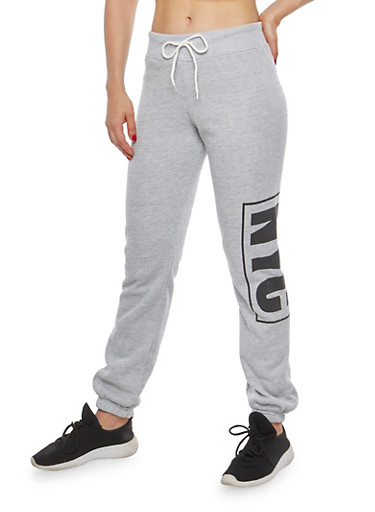 NYC Graphic Sweatpants,HEATHER,large