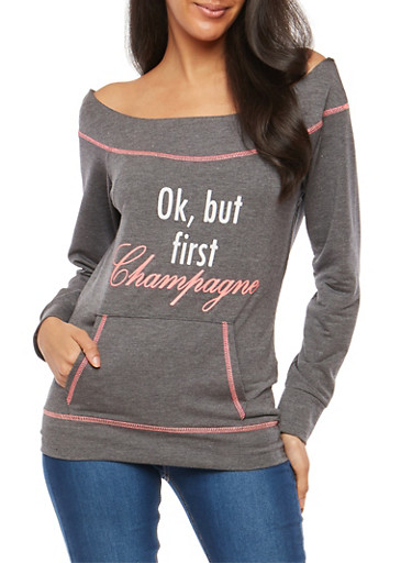Champagne Graphic Boat Neck Sweatshirt,HEATHER,large