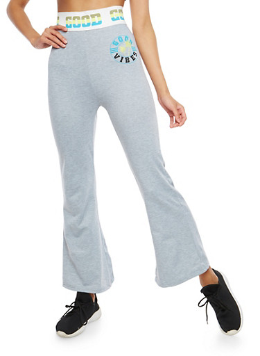 Good Vibes Graphic Flared Sweatpants,HEATHER,large