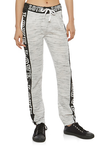 Love Graphic Color Blocked Sweatpants,HEATHER,large