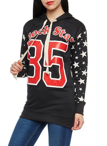Rock Star Graphic Hooded Sweatshirt,BLACK,large