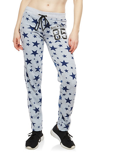 Rock Star Graphic Sweatpants,HEATHER,large