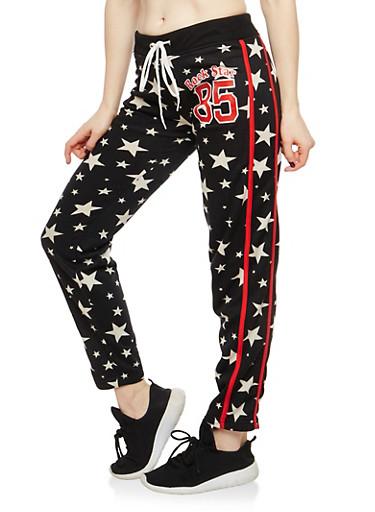 Rock Star Graphic Sweatpants,BLACK/WHITE,large
