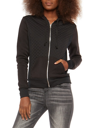 Quilted Hooded Sweatshirt,BLACK,large