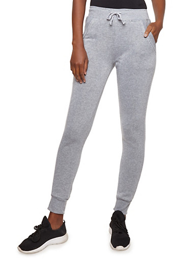 Fleece Sweatpants with Quilted Pocket Detail,HEATHER,large