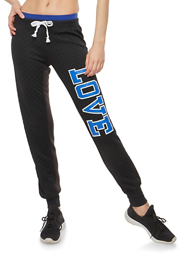 Love Quilted Graphic Sweatpants,BLACK,large